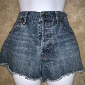 The Kooples High Waisted Denim Shorts